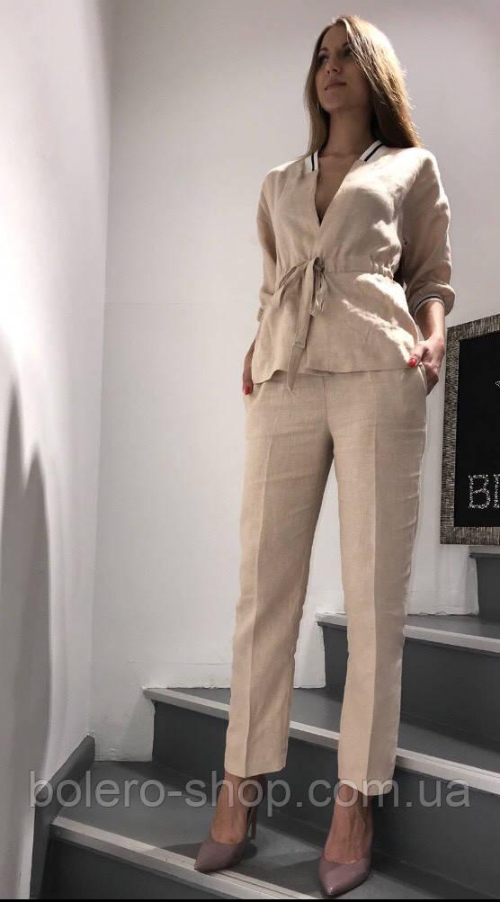Костюм женский летний двойка пиджак и брюки лён