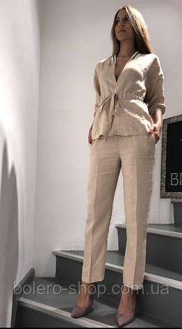 Костюм женский летний двойка пиджак и брюки лён, фото 2