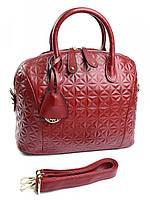 Женская сумочка саквояж с тиснением 7077 красная, фото 1
