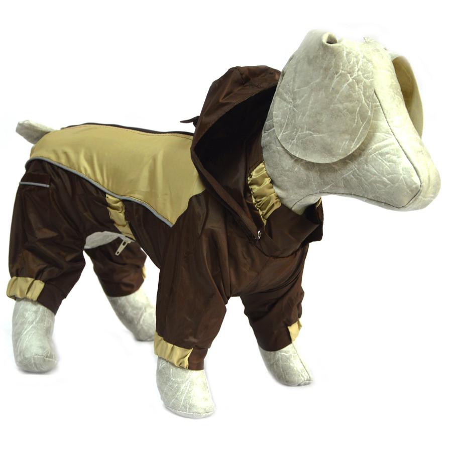 Комбинезон-дождевик с капюшоном для собак коричневый