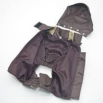 Комбинезон-дождевик с капюшоном для собак коричневый, фото 2