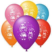 """Воздушные шарики пастель  шелкография Куклы Лол 10"""" (25 см)"""