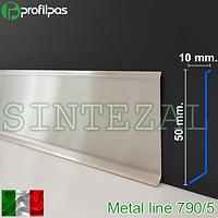 Плинтус для пола из нержавеющей стали, высота 50 мм.