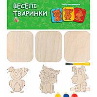 Дерев'яна іграшка Веселі магнітики - розмальовки: Тваринки (у)