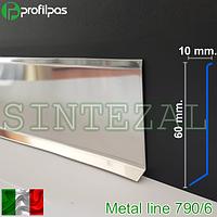 Напольный плинтус из нержавеющей стали, высота 60 мм.