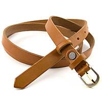 Женский кожаный ремень узкий рыжий KB-15 tan (120 см), фото 1