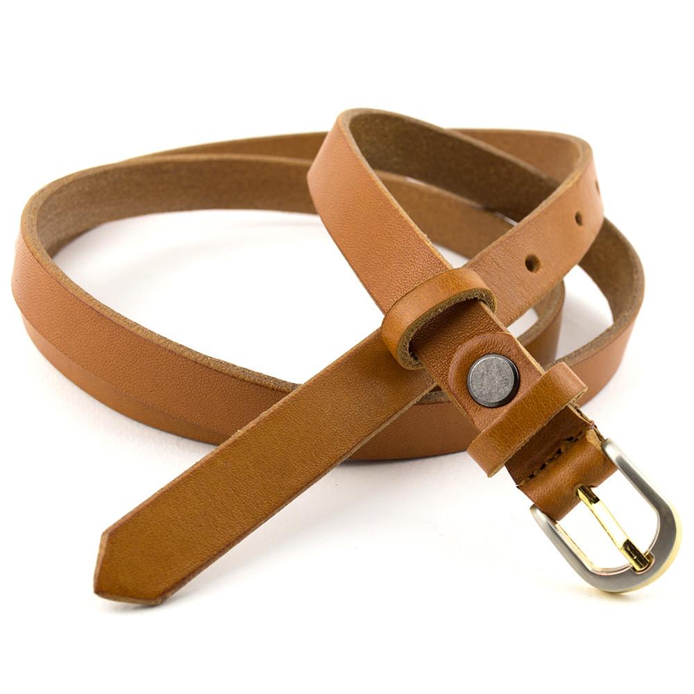 Женский кожаный ремень узкий рыжий KB-15 tan (120 см)