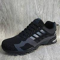 Мужские спортивные кроссовки черные , летние кроссовки сетка, фото 1
