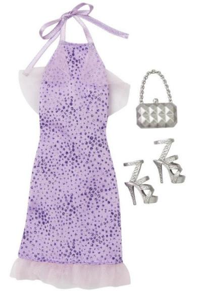 Комплект одежды Барби Игра с модой – Фиолетовое платье с аксессуарами DNV26