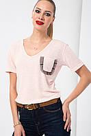 Розовая женская футболка HAPPINESS с карманом на груди
