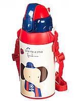 """Металлический детский термос с трубочкой """"Слоник"""" 400 мл (для горячих и холодных напитков)"""