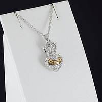 """Удивительный кулон """"Chanel"""" с кристаллами Swarovski + цепочка, покрытые золотом 0893"""