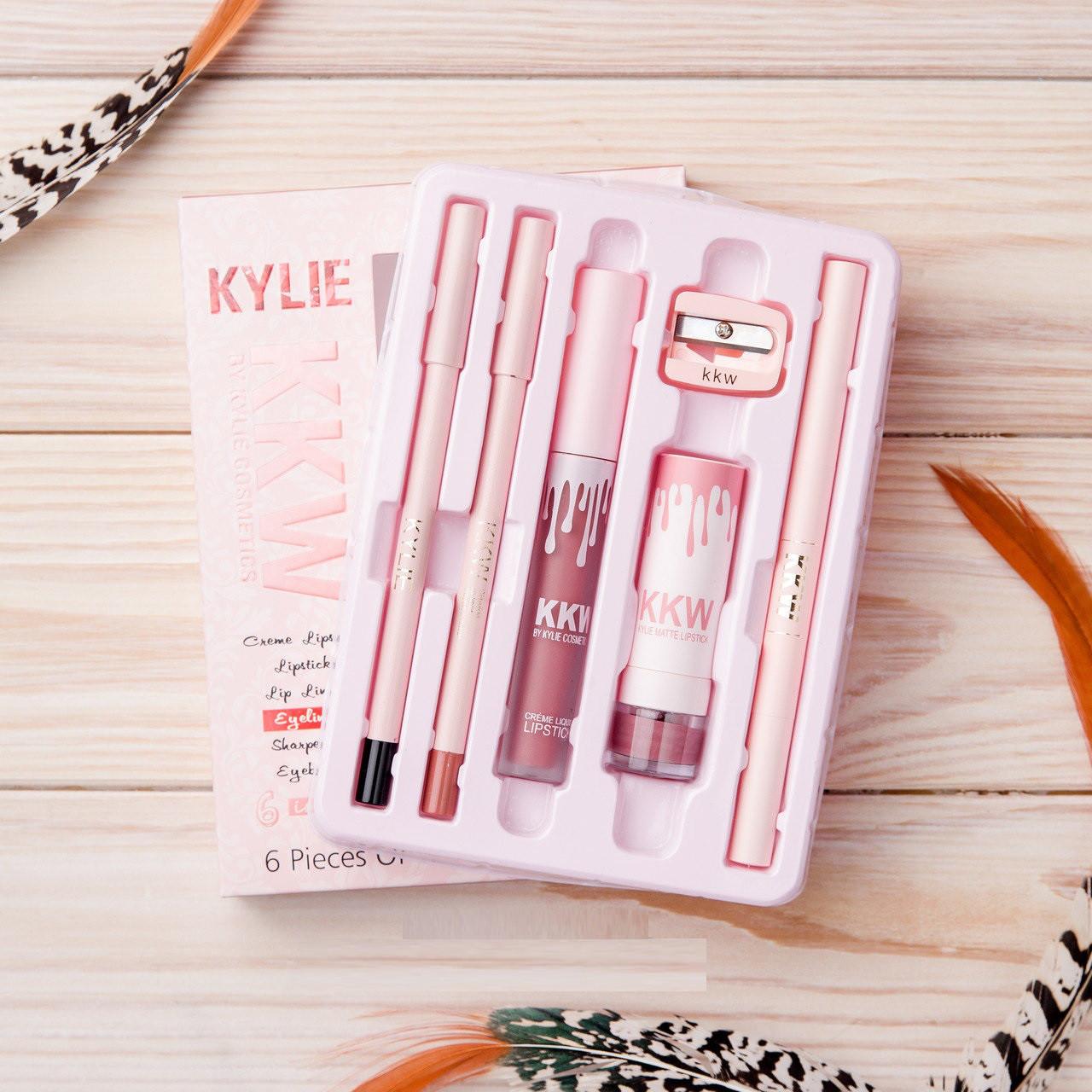 Набор косметики Kylie (Кайли) KKW 6 in1 с точилкой
