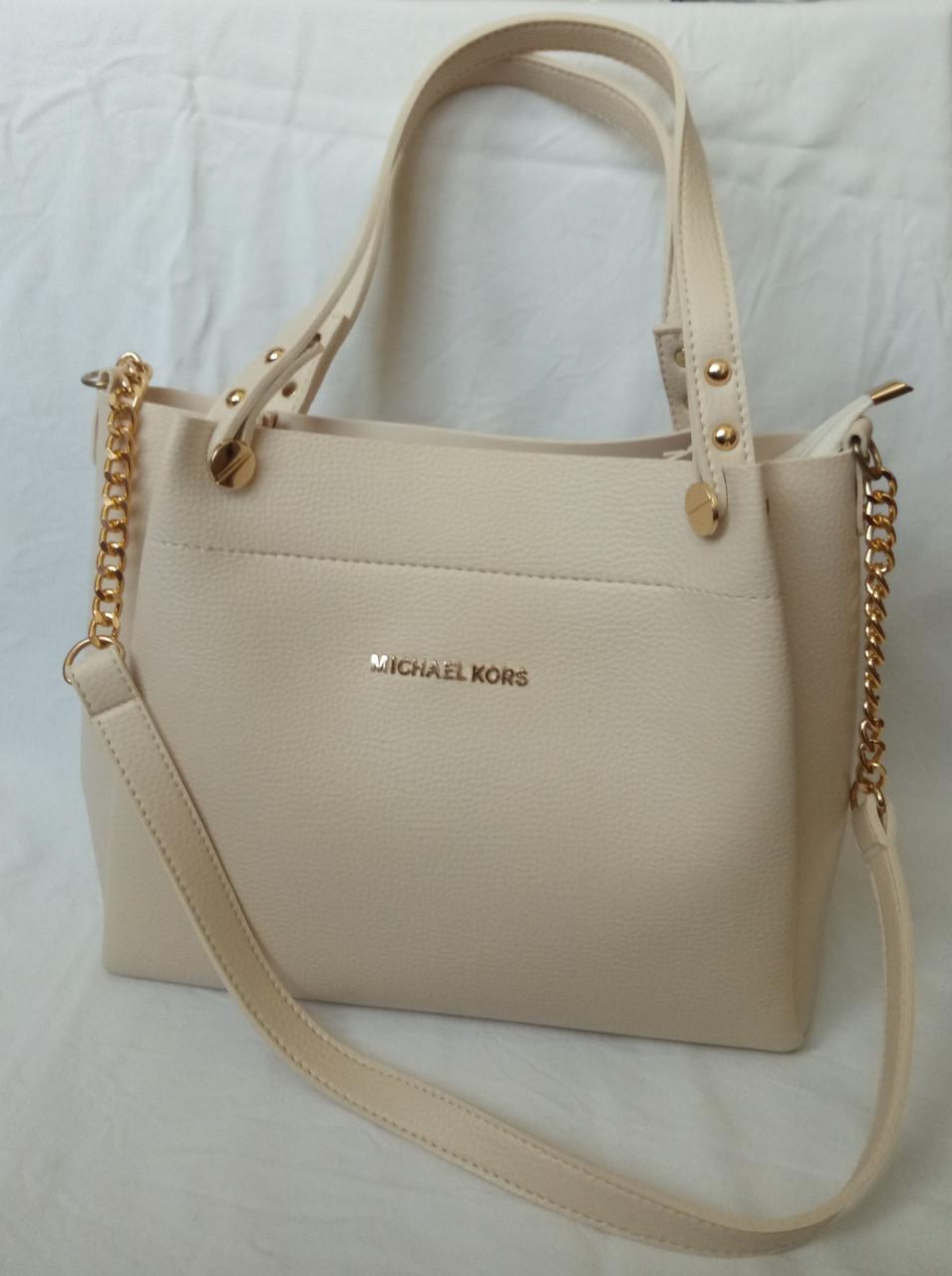 Женская сумка Michael Kors (Майкл Корс), бежевая