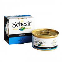 Schesir Tuna ШЕЗИР ТУНЕЦ натуральные консервы для кошек тунец с рисом, банка,85 гр