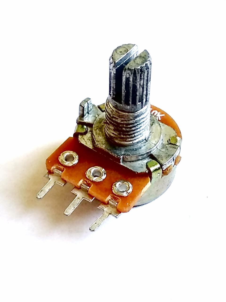 Переменный резистор (потенциометр) 5 кОм (WH148-B5K) моно L=15
