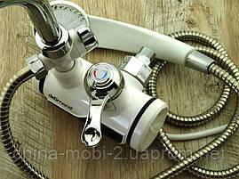 Кран LZ008 Делімано з душем 3000W, Проточний водонагрівач з вертикальним підключенням, фото 3