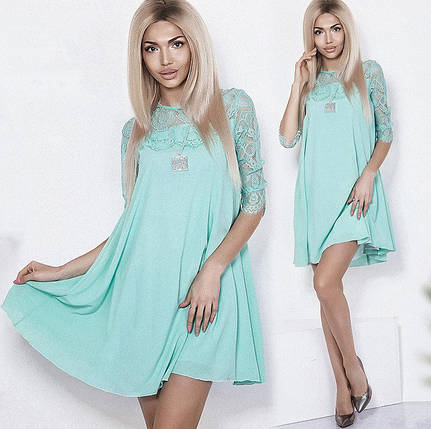 Летнее однотонное платье с гипюром, фото 2
