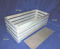 Ящик универсальный без ручек 2 планки 31.5х14,5х11 см дерево заготовка для декора№5