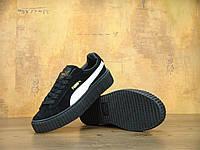 Кроссовки женские Rihanna x PUMA Suede Creepers реплика ААА+ (натуральная замша) размер 36 черный (живые фото)