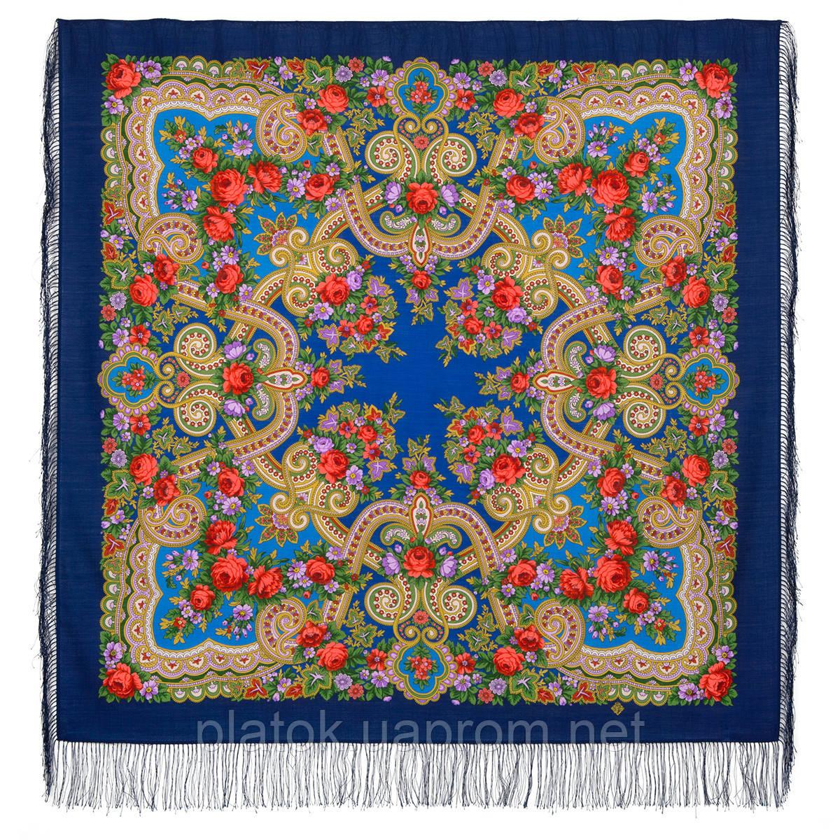 Серенада 11-13, павлопосадский платок шерстяной с шелковой бахромой Стандарт