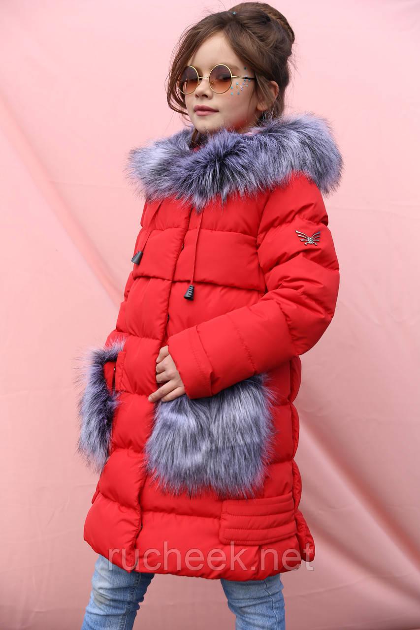 Новинка - зимнее пальто для девочки р 116 - 158, модель Полианна зима