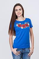 Женская футболка електрик с красными маками