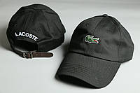 Кепка черная Lacoste логотип вышивка | Ремешок из кожи