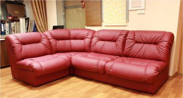 Офисный диван угловой Визит (VIZIT) модульный, Неаполь-36 красный.