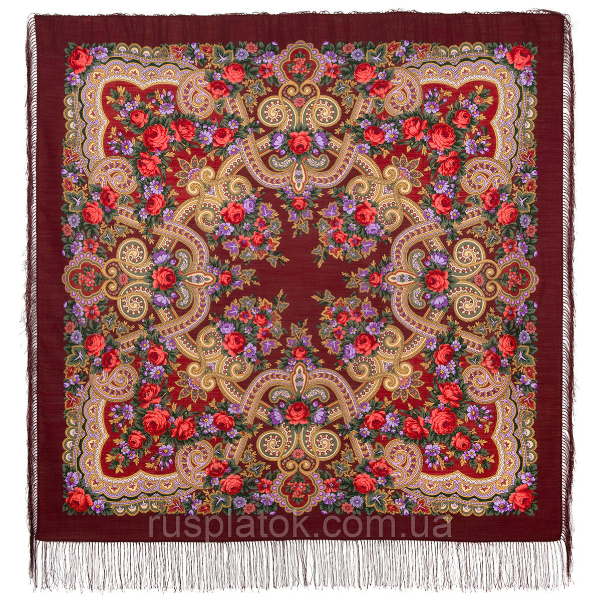 Серенада 11-6, павлопосадский платок шерстяной с шелковой бахромой