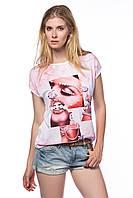 Бело-розовая женская футболка HAPPINESS с жемчужинами