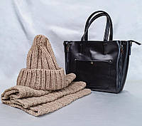 Женская большая сумка в черном цвете из натуральной кожи KT22223, фото 1