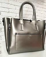 Женская большая сумка в серебре из натуральной кожи KT22223, фото 1