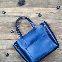 Женская большая сумка в синем цвете из натуральной кожи KT22223