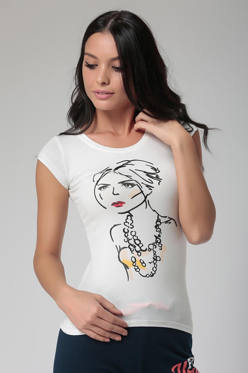 Белая женская футболка HAPPINESS с нарисованной девочкой