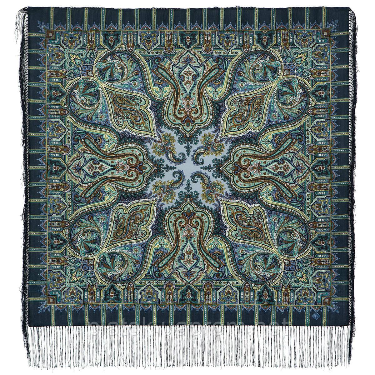Шафран 1155-2, павлопосадский платок шерстяной  с шелковой бахромой