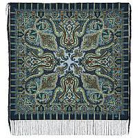 Шафран 1155-2, павлопосадский платок шерстяной  с шелковой бахромой, фото 1
