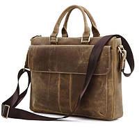 Стильная горизонтальная мужская сумка портфель из натуральной кожи в коричневом винтажном цвете Vintage 14066