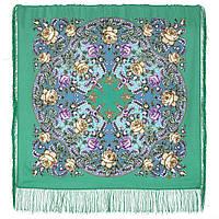 Звездочка моя 1808-9, павлопосадский платок шерстяной  с шелковой бахромой, фото 1