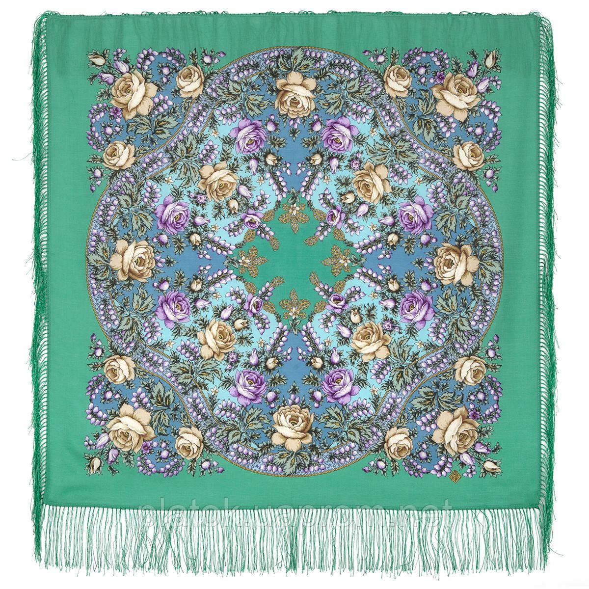 Звездочка моя 1808-9, павлопосадский платок шерстяной  с шелковой бахромой