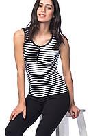 Женская футболка HAPPINESS в черно-белые полоски