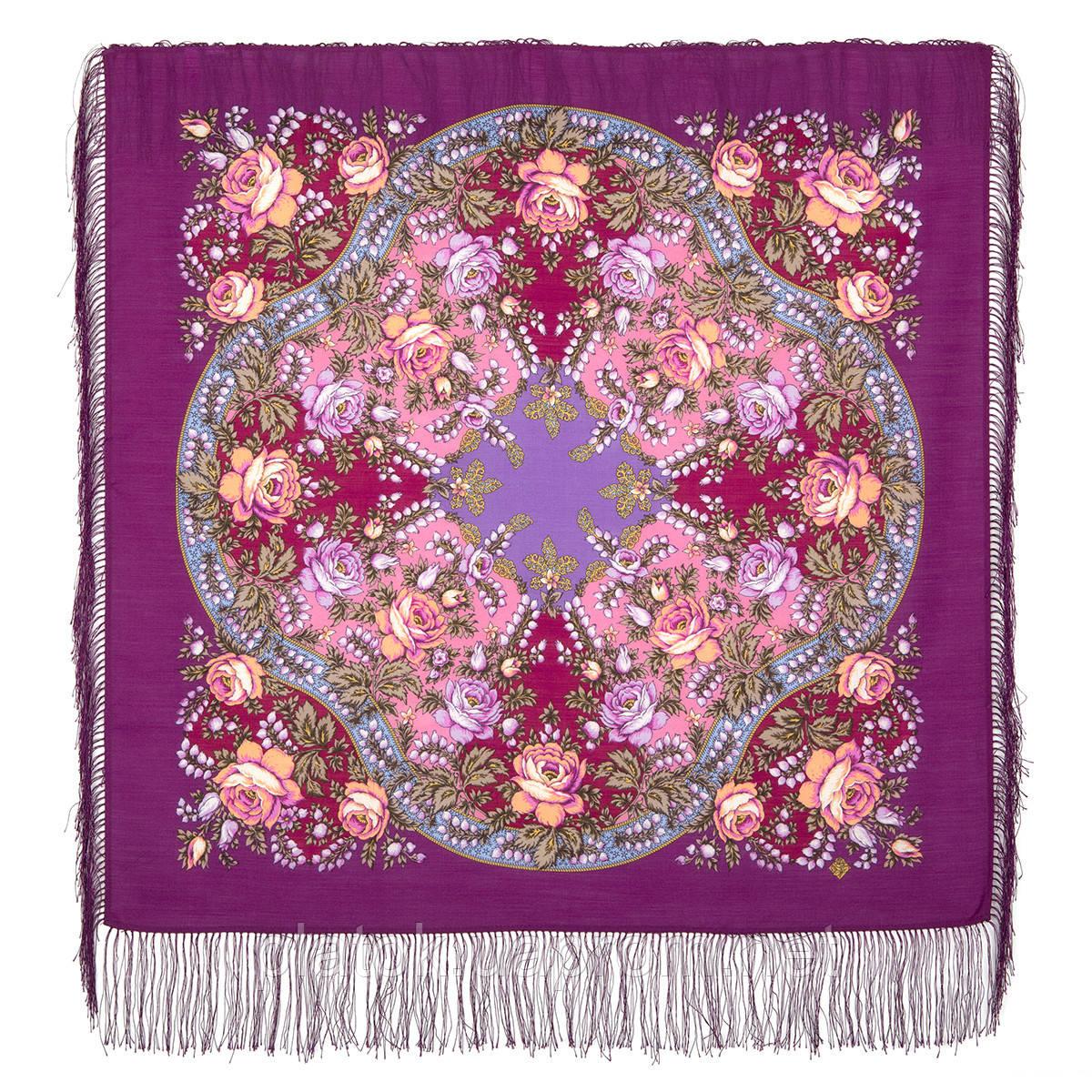 Звездочка моя 1808-15, павлопосадский платок шерстяной  с шелковой бахромой