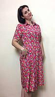 Платье миди из штапеля на пуговицах с карманами П200, фото 1