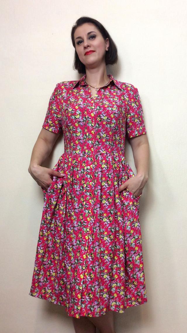Платье миди из штапеля на пуговицах с карманами П200