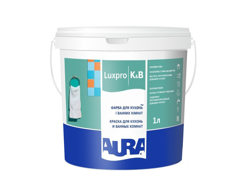 Краска для влажных помещений AURA LUX PRO K&B антисептическая 1л