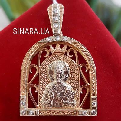 Золотая ладанка Николай Чудотворец - Кулон иконка Святой Николай золото 585