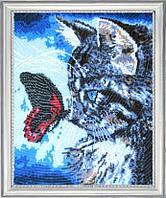 Набор для вышивки бисером Котенок и бабочка БФ 596