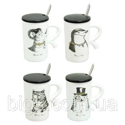 Чашка с крышкой и ложкой 300 мл Английская сказка ( кружка для чая )