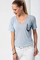 Голубая женская футболка HAPPINESS с кармашком