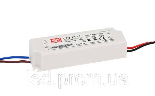 Блок питания Mean Well 20Вт 12В IP67 (LPV-20-12)